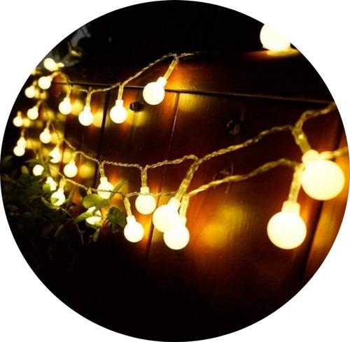 Guia De Luces Led X 10 M Con 100 Esferas De Luces Cálidas