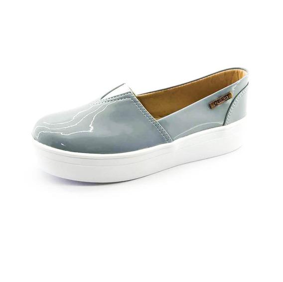 Tênis Flatform Quality Shoes Feminino 003 Verniz Cinza