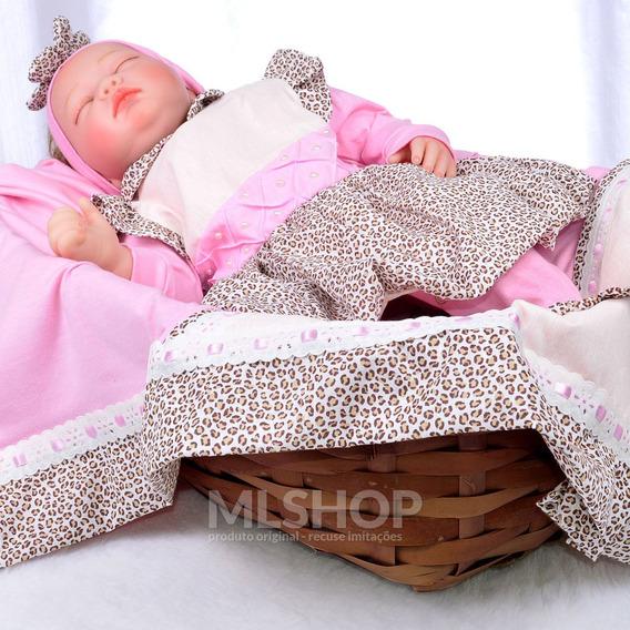 Saída Maternidade Oncinha Rosa Menina Roupa De Bebê Onça