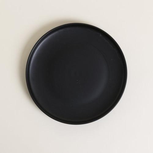 Plato De Postre Negro Redondo De Ceramica Premium 19 Cm