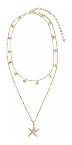 Collar Doble Estrella De Mar Marca Nice 319394