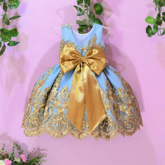 Vestido Festa Infantil De Renda Azul Com Dourado