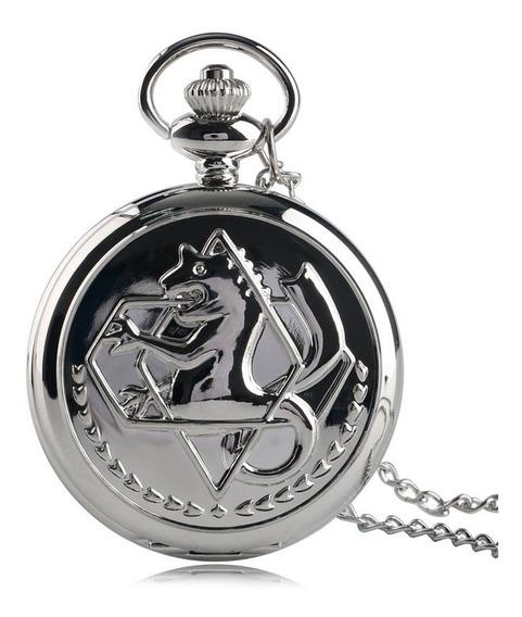 Colar Relógio Full Metal Alchemist Caixa Cordão, A Bateria