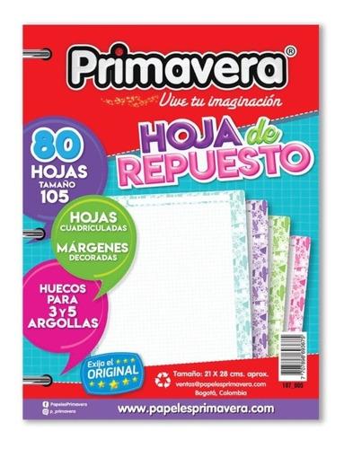 Hoja Repuesto Primavera Para Folder 105 Paquete X 80 H.