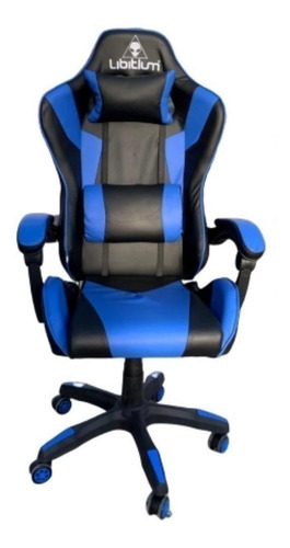 Imagen 1 de 1 de Silla de escritorio Libitium Gamer gamer ergonómica  negra y azul con tapizado de cuero sintético