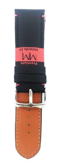 Pulseira De Couro Para Relógio 24mm Preta Marry Montan