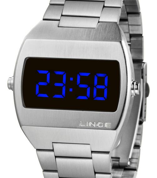 Relógio Lince Unissex Digital Quadrado Prata Mdm4621l Dxsx