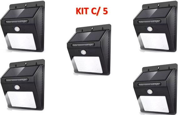 Kit 5x Luminária Solar De Parede 25 Leds Com Sensor Presença