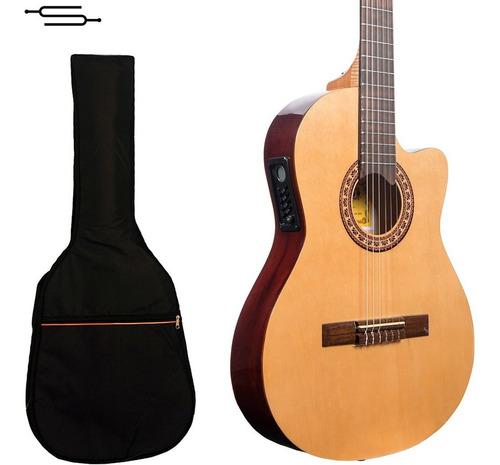 Imagen 1 de 7 de Guitarra Electro Criolla Gracia G10eq Media Caja +funda Cuot