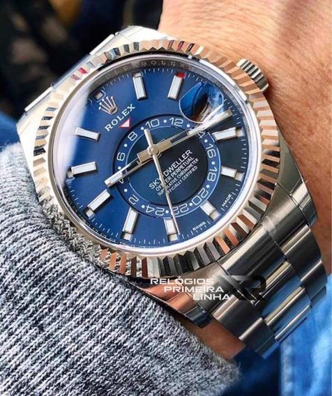 Relógio Rolex Sky-dweller Azul Prata Automático