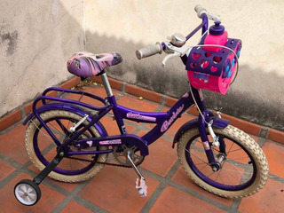 Bicicleta Niños Barbie Rod 16 Canasto Rueditas Y Timbre