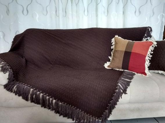Manta Xale Para Sofá Rústico Com Belotas