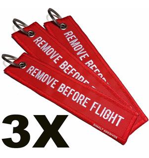 03 Chaveiros Bordados Remove Before Flight - R$ 8,00 Cada