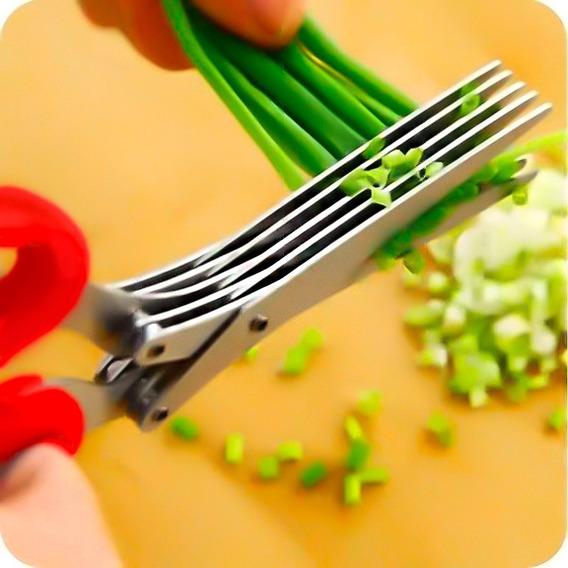 Tesoura Cozinha Cortar Picar Hortaliça Verdura 5 Lâminas
