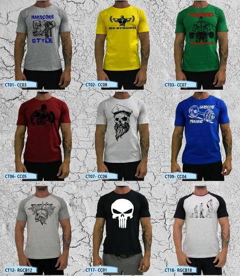 Kit 2 Camiseta Casual T-shirt Camuflado Cinza Raglan Bicolor