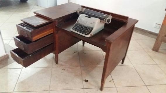 Mesa Antiga De Máquina De Escrever Embutida Em Madeira Linda