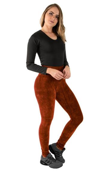 Calça Veludo Legging Feminina Cotelê Cintura Alta Inverno