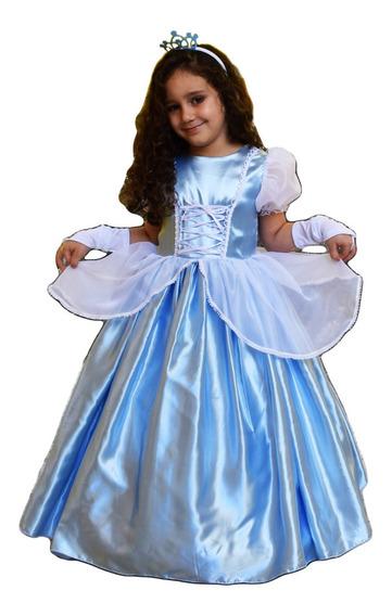 Vestido Princesa Cinderela Infantil Luxo Longo Armado, Luva