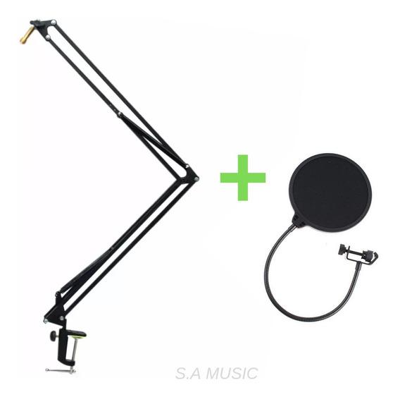 Pedestal Suporte Articulado De Mesa P/ Microfone +pop Filter