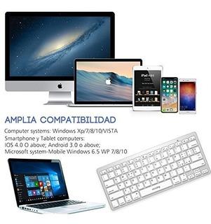 Mini Teclado Inalambrico Ultra Delgado Bluetooth Tablet Mac