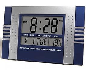 Relógio De Parede Mesa Digital Data Temperatura Alarme Pilha