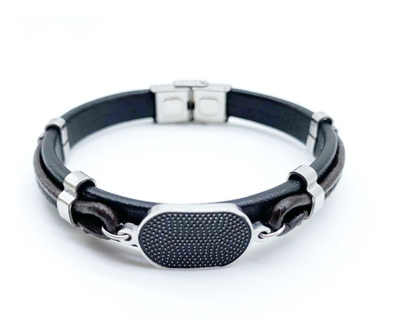 Pulseira Bracelete Masculina Couro + Aço