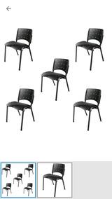 Kit 05 Und Cadeira Empilhável Plástica Preto Escritório Fixa