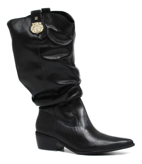 Bota Zariff Shoes Slouch Em Couro Metal 1370603
