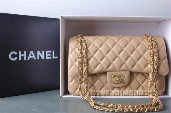 Bolsa Chanel Classic 2.55 (média) Couro Na Caixa Dourado