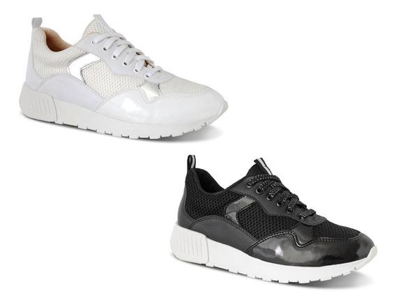 Kit 2 Pares Tênis Sneaker Feminino Jogger Metalizado Casual