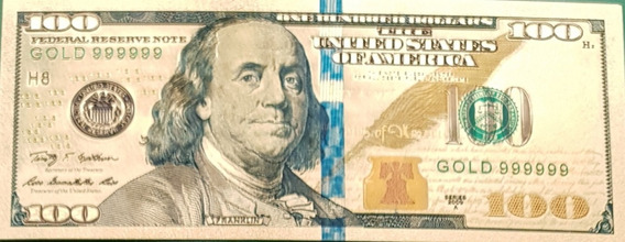 Estados Unidos Replica 100 Dolares Con Baño Oro 24 K Palermo