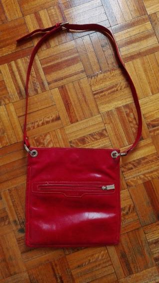 Cartera Bandolera De Cuero Rojo Blaqué