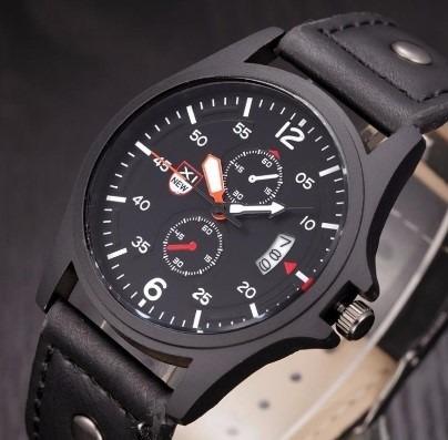 Relógio Masculino Sport Militar Marrom Ou Preto