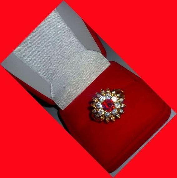 Anel Rubi Zirconias Aro22 Banho Ouro Rose 18k Semi Joias