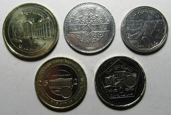 Siria Set De 5 Monedas 1997 - 2003 Unc Sin Circular