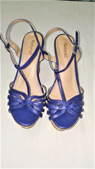 573 Anabela Naturali, Azul Marinho, Confeccionado Em Couro