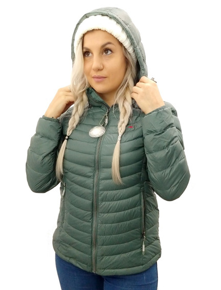 Campera Mujer Montagne Pluma Shelby Capucha Cuotas S/interes
