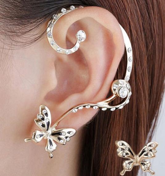 Fashion Brinco Estilo Ear Cuff Dourado Borboleta Strass 01