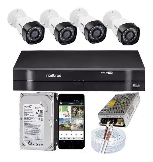 Kit Cftv 4 Câmeras Full Hd 1080p 2mp Dvr Intelbras Mhdx 1104
