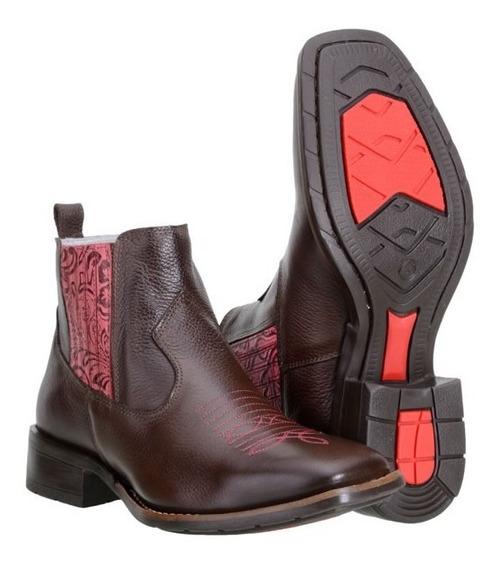 Botina Texana Country Feminina Capelli Boots 100% Couro 4722