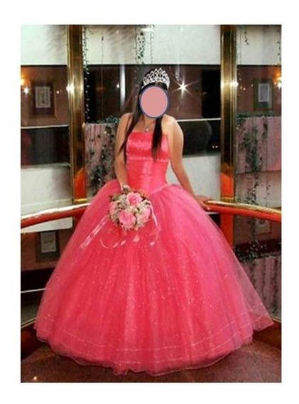 Vestido Xv Años, Coral, Talla M, Con Corona Y Crinolina