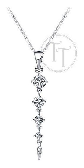 Collar Gota Plata Esterlina 925 Diamante Creado