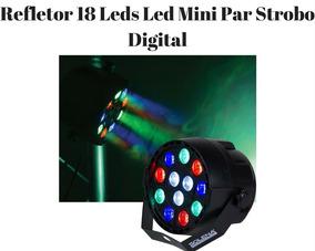 Refletor 18 Leds Led Mini Par Strobo Digital