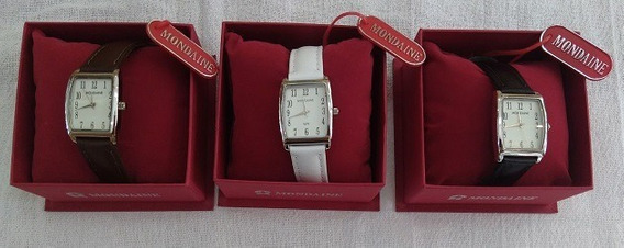 Relógios Mondaine Pulseiras Preta, Branca E Marrom Kit C/ 03