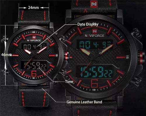 Relógio Masculino Preto E Vermelho Analógico + Brinde