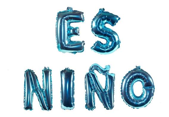 Globos De Letra Metalicos Baby Shower 40 Cm Letrero N95