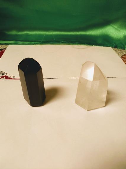 Kit 2 Ponta Obelisco Quartzo Cristal E Obsidiana Negra Reiki