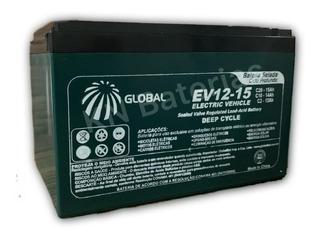 Bateria 12v 15ah 6-dzm-12 Ciclo Profundo Bike Moto Elétrica