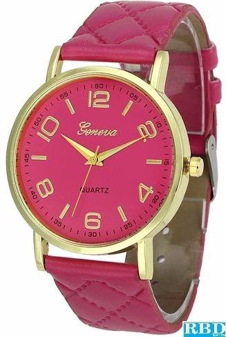 Relógio Feminino Geneva Pink Com Pulseira De Couro