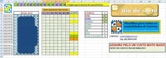 Planilha Dia De Sorte 14 Dezenas Garante 5 E 6 Pontos 14 Jgs